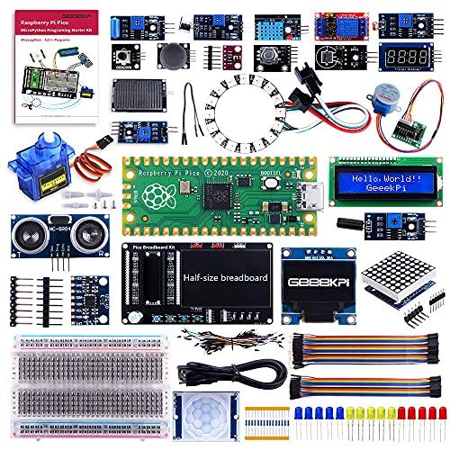 GeeekPi Raspberry Pi Pico MicroPython-Programmiersensor-Kit mit Raspberry Pi Pico, Steckbrett, I2C 1602 LCD-Anzeigemodul, 8x32 Punktmatrix für Raspberry Pi-Anfänger und Software-Ingenieure