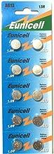Eunicell Lot de 10 piles bouton alcalines AG13/A76/L1154/SR44/G13/357/PX76A/V13GA