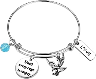 KUIYAI Eagle Charm Bracelet Until Every Cage is Empty Bracelet Animal Rescue Gift Vegan Jewelry