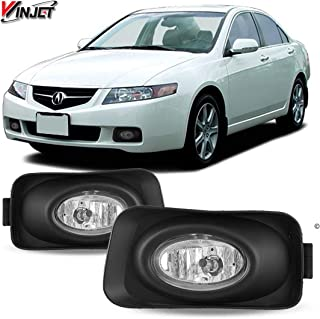 Winjet Fog Lights Compatible With 2003-2006 Acura TSX | Factory Style Polycarbonate Resin Black Housing Clear Lens Driving Running Foglight Foglamp Lamps LED Super Bright | 2004 2005