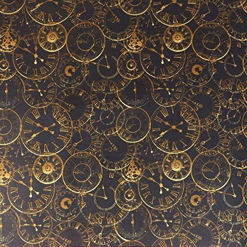 The Craft Cotton Co Reloj Steampunk – Se vende en múltiplos de 0,5 metros – (100% algodón, ideal para manualidades, diseñado en Inglaterra)