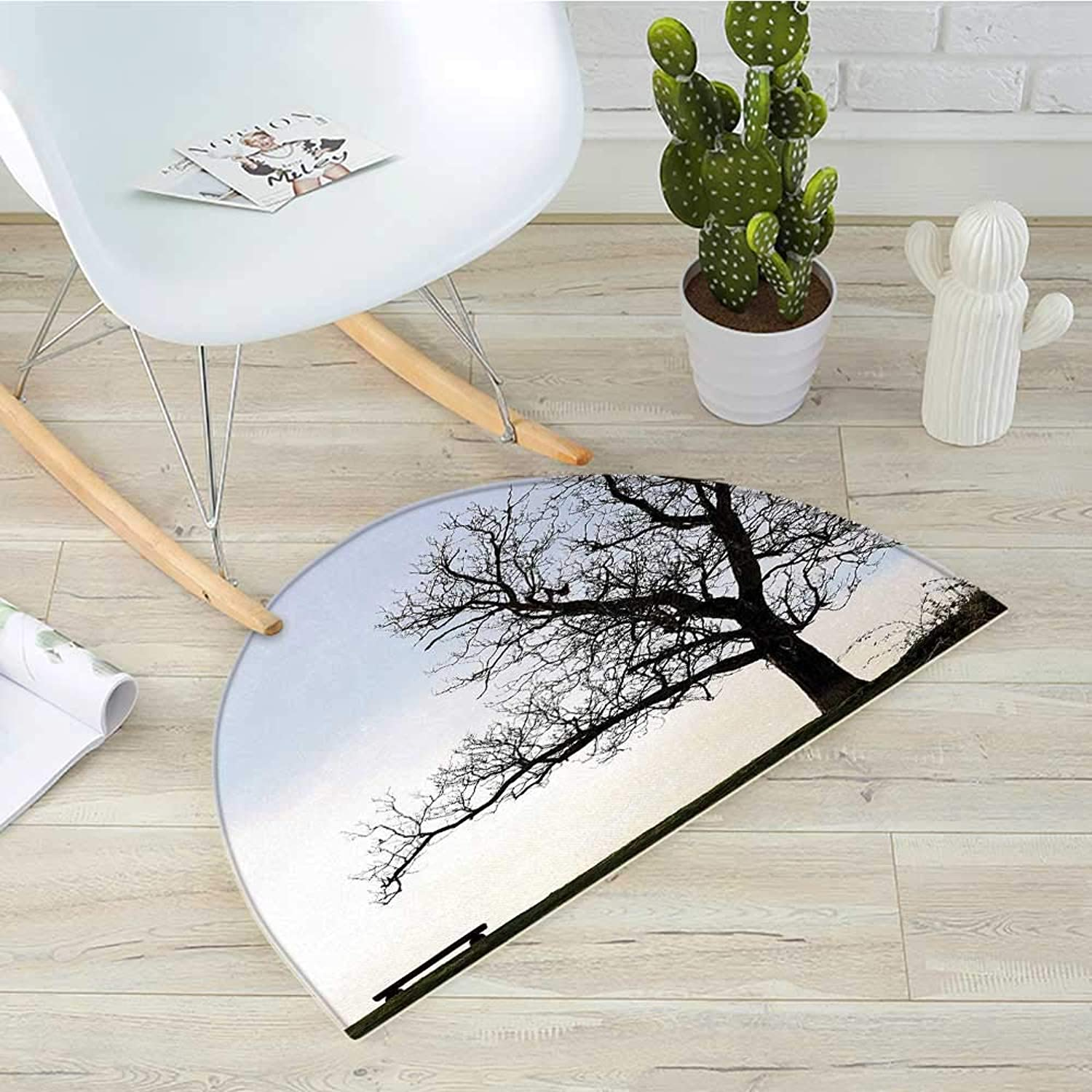 Tree Semicircle Doormat Silhouette of A Bench and A Tree Against Pale Evening Sky in Winter Nature Landscape Halfmoon doormats H 39.3  xD 59  bluee Brown
