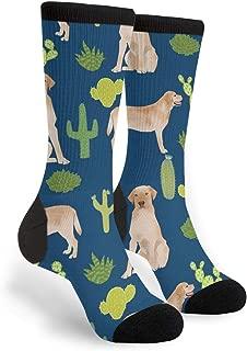 Unisex Novelty Cotton Crazy Crew Socks - Yellow Lab Labrador Retriever Labrador Retriever Cactus Socks,Christmas Gifts