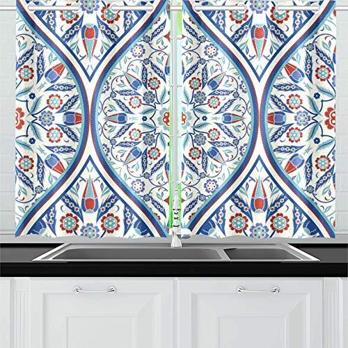 JINCAII Bunte türkische endlose Küche Vorhänge Fenster Vorhang Stufen für Café, Bad, Wäscherei, Wohnzimmer Schlafzimmer 26 X 39 Zoll 2 Stück