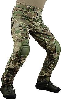 Pantalones tácticos multicámara para Hombres Multi-Bolsillos Camuflaje Militar Pantalones de Caza de Combate Airsoft al Aire Libre con Rodilleras
