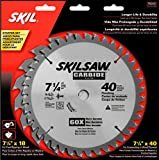 SKIL 75312 7-1/4-Inch Saw Blade Combo Pack with 18 Tooth Crosscutting and Ripping Blade and 40 Tooth Finishing Blade, Pack of 2