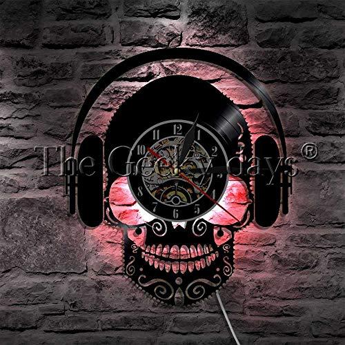 UIOLK Reloj de Pared con Disco de Vinilo de Calavera con Auriculares Escuchando música, con iluminación LED lámpara de decoración de Calavera Hippie