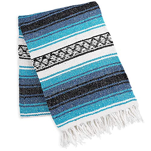 Zulay Home Authentic Mexican Blankets - Hand Woven Yoga Blanket & Outdoor Blanket - Artisanal Boho Blanket & Mexican Falsa Blanket for Beach, Picnic, Camping, or Home Throw Blanket (Blue Emerald)