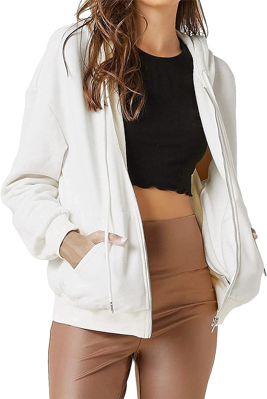 Oversized Women Casual Hoodie Sweatshirts Top Y2K Zip Up Hoodies Jackets Long Sleeve Solid Color Pullover Coat