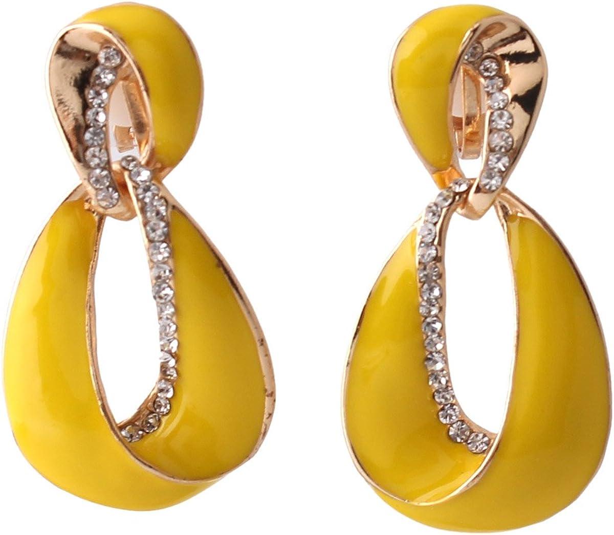 Grace Jun Large Gold Plated Rhinestone Enamel Clip on Earrings Non Piercing for Women Statement Earrings