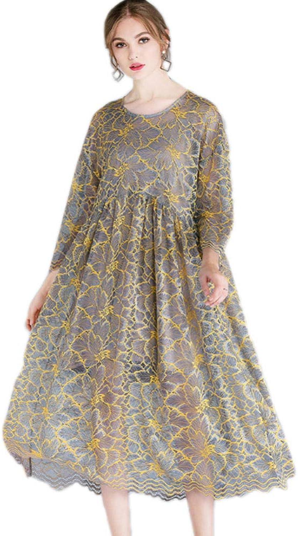 QJKai Ladies lace Dress, Fashionable Loose Large Size Round Neck Women's Skirt, Evening Dress Cocktail Party Ball Gown Elegant Midi Dress