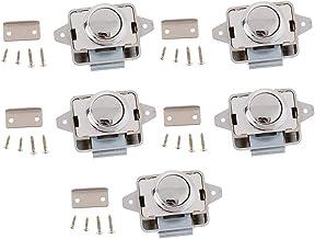 B Baosity 5 Stuks Keyless Drukknop Klink, Kabinet Lock Klink voor RV/Camper/Camper/Caravan (Zilver)