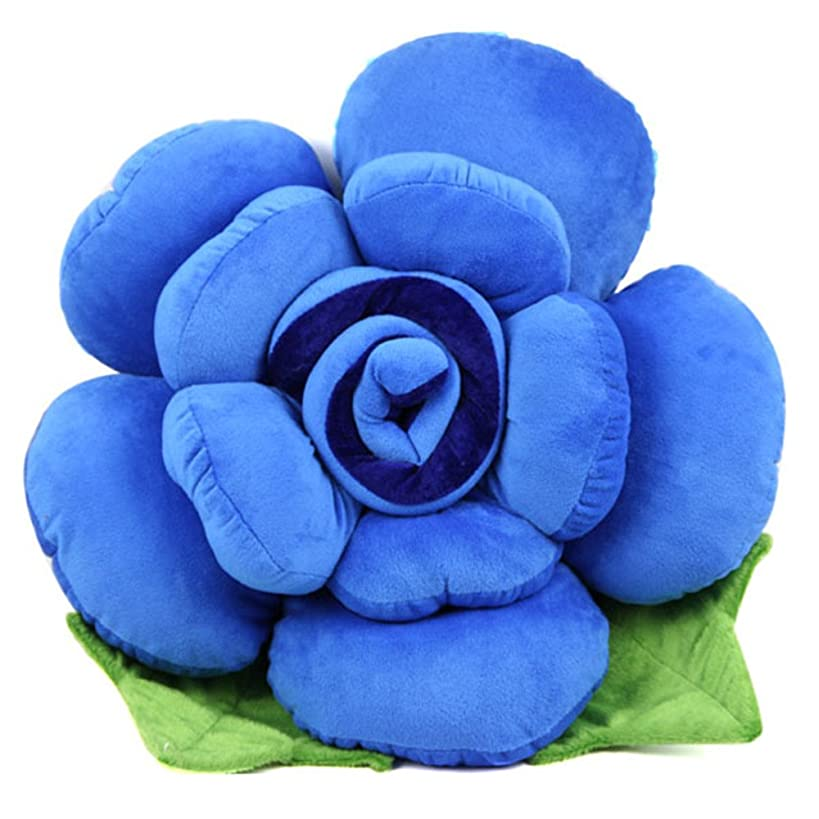 Patty Both Soft Lovely Novelty Colorfull Rose Flower Shape Bed Sofa Chair Car Seat Nap Throw Cushion Lumbar Pillow Lover Wedding Gift Present Party Decor Toy (Blue, Small)