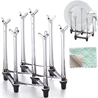 Marbrasse Retractable Cup Drying Rack, Drinking Glass and Sports Bottle Drainer Stand, Plastic bag dryer and Mug Tree with Non-slip Bottom For Kitchen Countertop