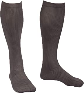 EvoNation Men's USA Made Graduated Compression Socks 20-30 mmHg Firm Pressure Medical Quality Knee High Orthopedic Support Stockings Hose - Best Comfort Fit, Circulation, Travel (Large, Gray)