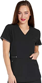 Med Couture Accents Women's Sporty Graphic V-Neck Scrub Top