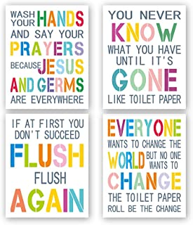 Kairne Funny Bathroom Quote Art Print, Set of 4 (8X10, Unframed) Colorful Inspirational Words Painting,Bathroom,Toilet,Washroom Rule Canvas Wall Art