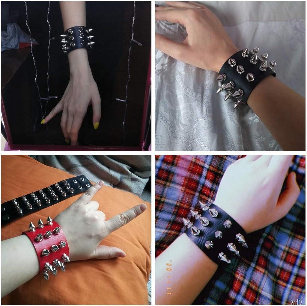 SJYFAL Women Leather Bracelets Plush Cuff Wrist Gothic Bracelet Bangle Adjustable