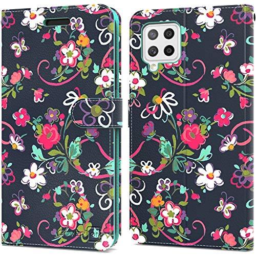 CoverON Schutzhülle für Samsung Galaxy A42 5G, Leder, RFID-blockierend, Klapphülle mit Ständer, Handy-Cover – Blumenmuster