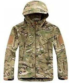 Waterproof Military Tactical Combat Softshell Jacket Outdoor Camping Hiking Camouflage Hoodie Coat (CP, XXL)