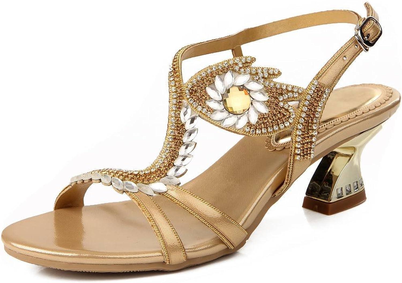 YooPrettyz Women Strappy Sandals Embellished Leather Sandal Comfort Low Heels gold 10