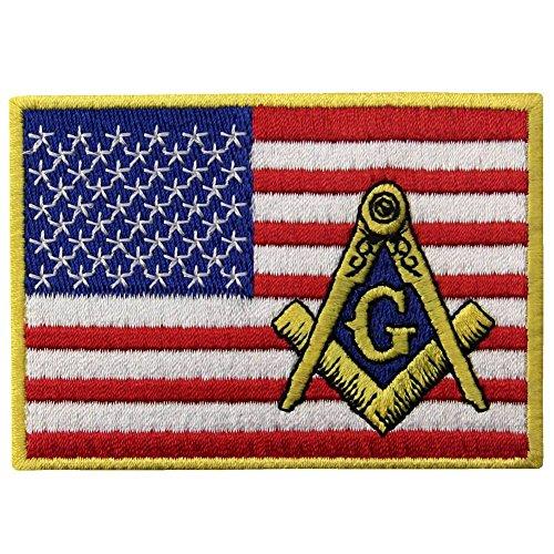 American Flag Freimaurer-Flicken bestickt USA quadratisch Kompass Aufnäher Aufbügler Emblem