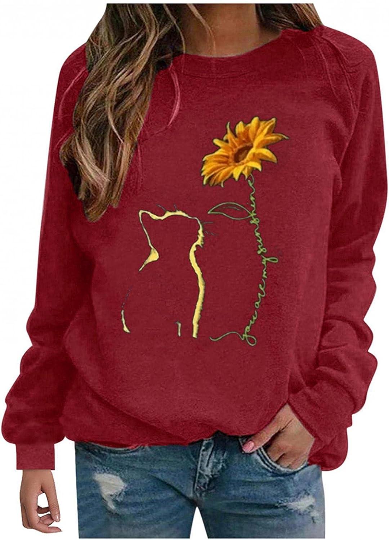 POLLYANNA KEONG Womens Long Sleeve Tops,Womens Casual Crewneck Sweatshirt Long Sleeve Shirt Soft Lightweight Loose Top