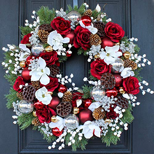 Darby Creek Trading Christmas Cashmere - Red Rose, White Magnolia, Ornament & Lotus Pod Pre Lit LED Front Door Christmas Wreath