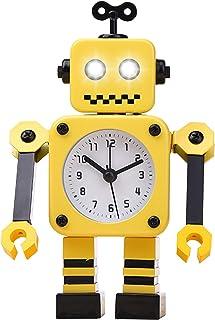 Diskary Robot-väckarklocka, icke-tickande väckarklocka med blinkande ögonlampor och roterande arm, present till barn (gul ...