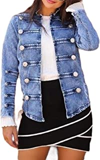 Macondoo Women Autumn Washed Jean Open Front Coat Denim Jacket