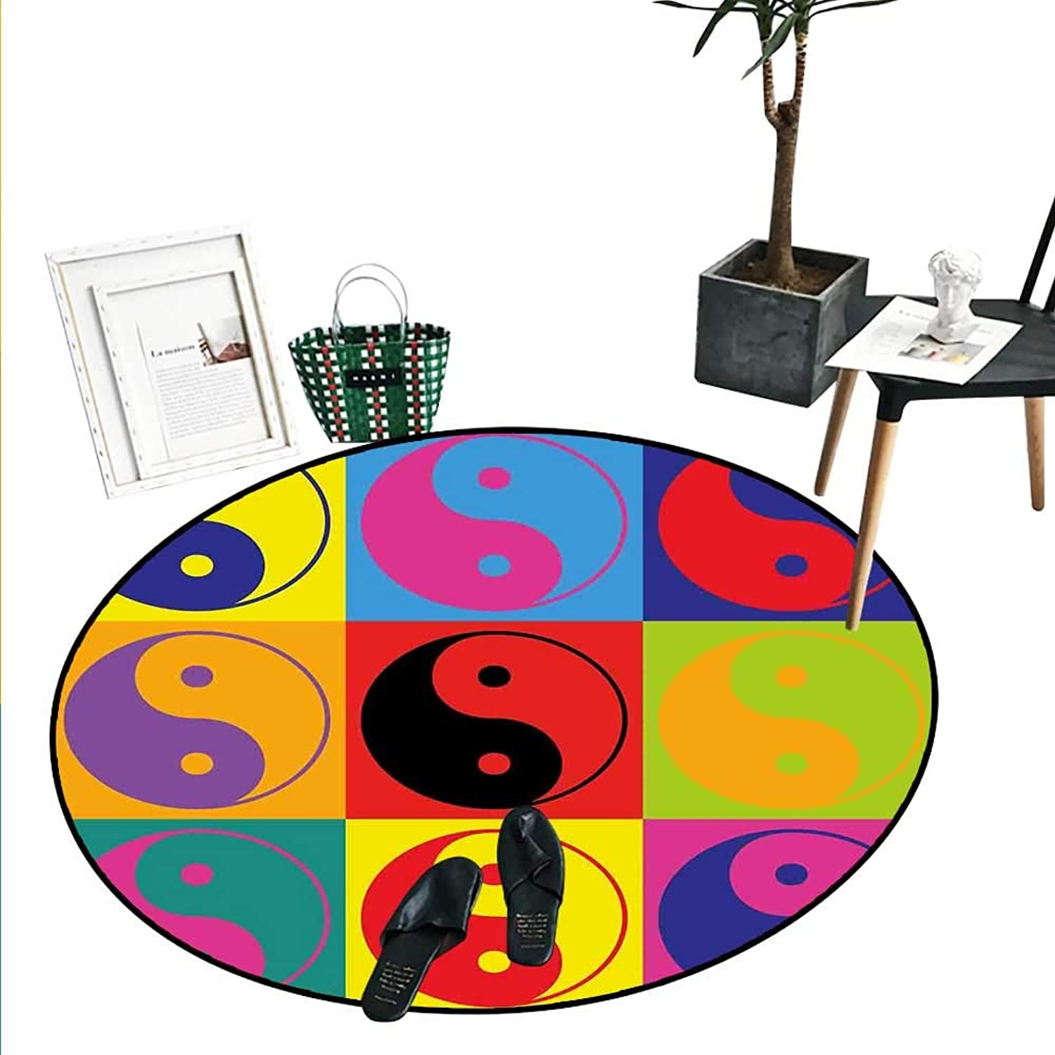 Ying Yang Print Area Rug Pop Art Design Yin Yang Signs Hippie Style Eastern Asian Peace Balance Theme Living Dining Room Bedroom Hallway Office Carpet (3'3  Diameter) Multicolor