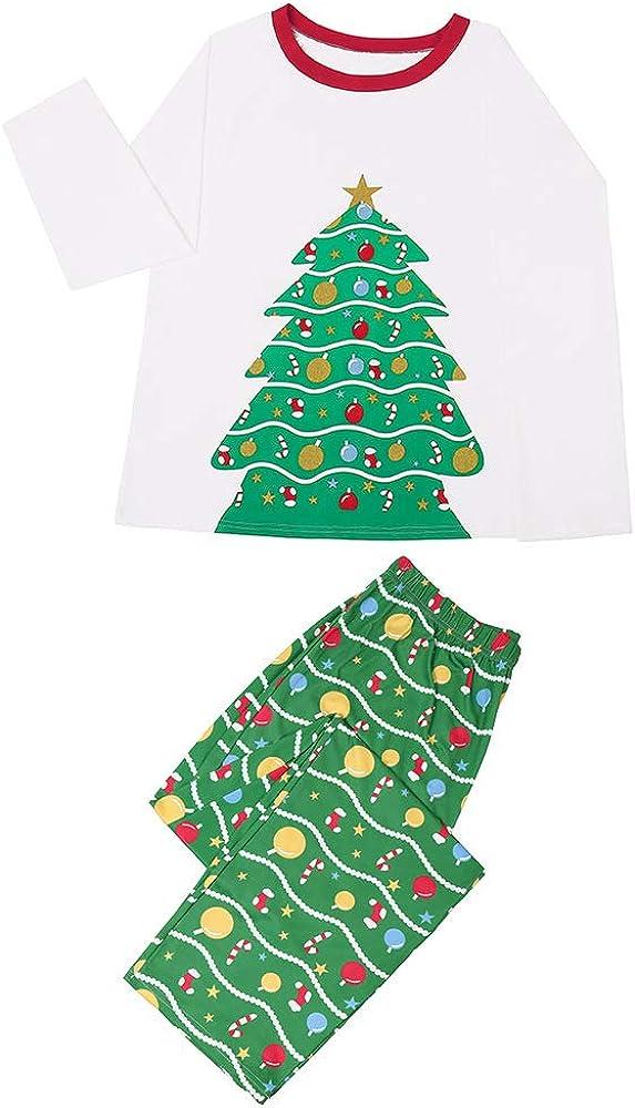 Family Pajama Set, Boys and Girls Christmas Pajamas, Christmas Tree Print Home Wear. (mom/M) White