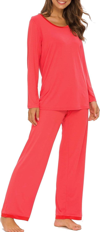 Houmagic Womens Pajama Set Long Sleeve Sleepwear Scoop Neck Soft Pjs Sets S-4XL