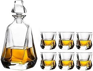 Decanter de whisky Decanter 7 pièces Decanter de whisky Set Set PREMIUM Liqueur Carafe 750 ml avec 6 verres 320 ml pour le...