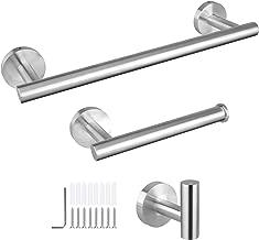EEEKit Bathroom Hardware Set, 3 Pieces Brushed Nickel SUS 304 Stainless Steel Bathroom Hardware Accessories Sets, Wall Mounted Towel Bar Towel Hook Toilet Paper Holder