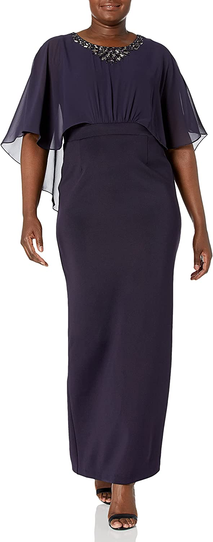 S.L. Fashions Women's Chiffon and Scuba Cape Dress