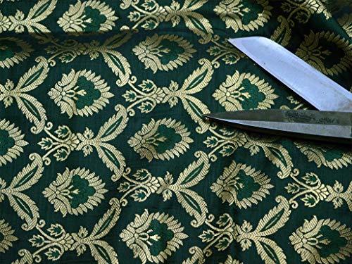 Tela de brocado de seda color verde dorado para bodas, fabricación de vestidos florales Varanasi, manualidades, costura, caminos de mesa, tela brocada.
