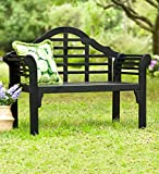Plow & Hearth 62A79-BK Lutyens Eucalyptus Wood Garden Bench, Black