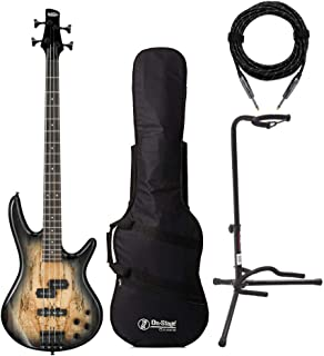 $279 » Ibanez 4 String Bass Guitar Right Handed, Gray GSR200SMNGT with Gig Bag, Knox XLR Cable and Guitar Stand Bundle (4 Items)
