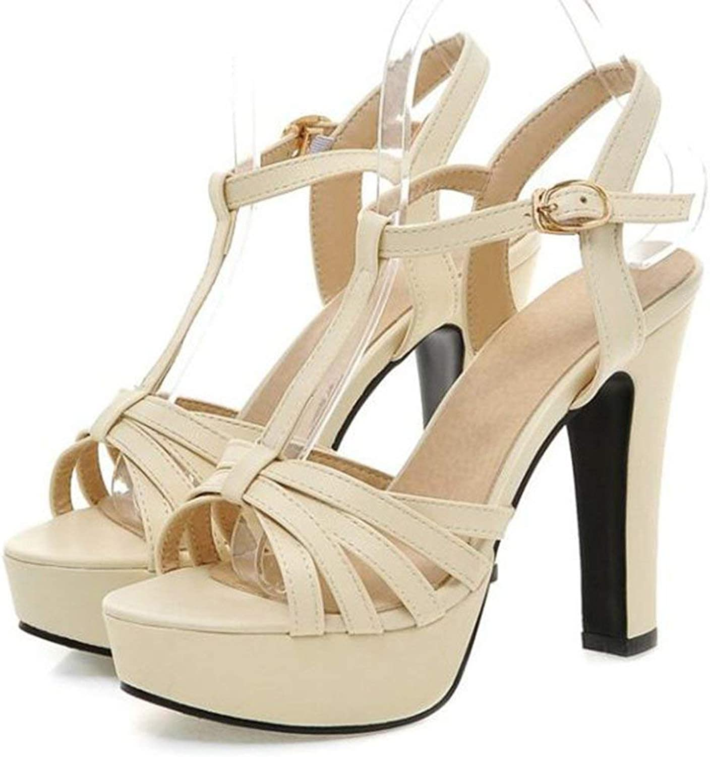 Gedigits Women's Sexy Peep Toe T-Strap Cocktail shoes Chunky High Heel Platform Strappy Sandals Beige 4 M US