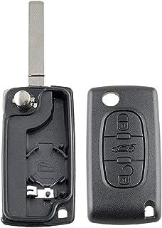 healthwen Funda de Llave Fob de Repuesto de 3 Botones, Hoja sin Cortar para Peugeot 207, 307, 407, 308, 607 para Citroen, ...