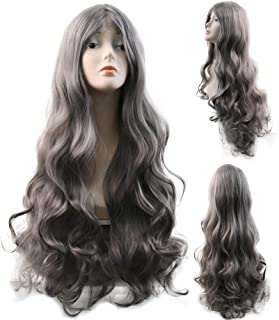 FMEZY Women Grey Wigs Natural Gray Long Curly Fluffy Full Wigs Cosplayparty Synthetic Heat Resistant Hair with Wig Cap32 200g