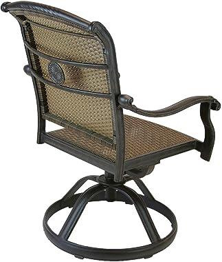 Patio Land Santa Clara Outdoor Set of 6 Swivel Rocker Dining Chairs Dark Bronze Cast Aluminum