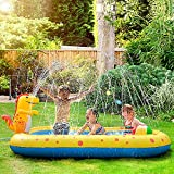 QJHP Piscina Inflable con rociadores para niños, Alfombrilla de Juego con Salpicaduras de Dinosaurios al Aire Libre, Juguetes acuáticos, Piscina para niños pequeños, bebés, niños y niñas