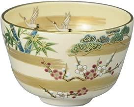KIYOMIZU Ware Matcha Bowl (Wooden Box) NINSEI Crane SHOCHIKUBAI