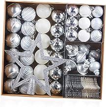 80 Pcs Xmas Tree Ornament Snowflake Decoration Pendant Christmas Balls Christmas Baubles Silver