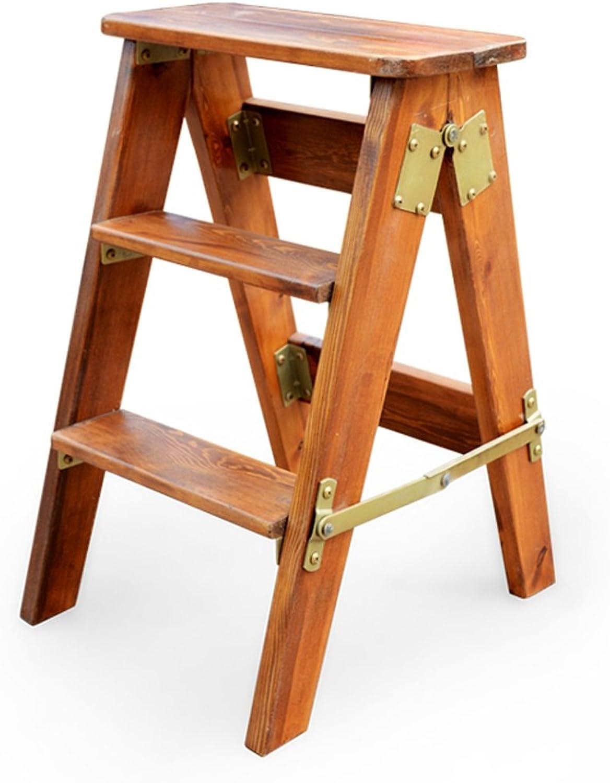 YGR dengzi Folding Stool Oak Ladder Multi-purpose Multi-purpose Three-tier Ladder Portable Household Solid Wood Climbing High Stool, 3 colors, Height 60cm (color   C)