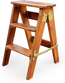 CAIJUN Multi-Purpose Folding Ladder Stool Oak Ladders Multi-Purpose Three-Step Ladder Portable Solid Wood Climb high Fishing Stool, 3 Colors, high 60cm (Color : 3#)