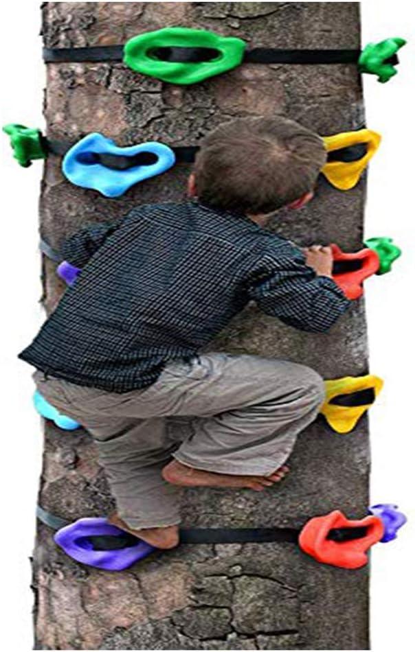 HSJCZMD Niños Muro de Escalada, Escalada al Aire Libre Sostiene Los niños de Escalada de Rocas configurado Columpio para niños Fácil de AssembleTree ...