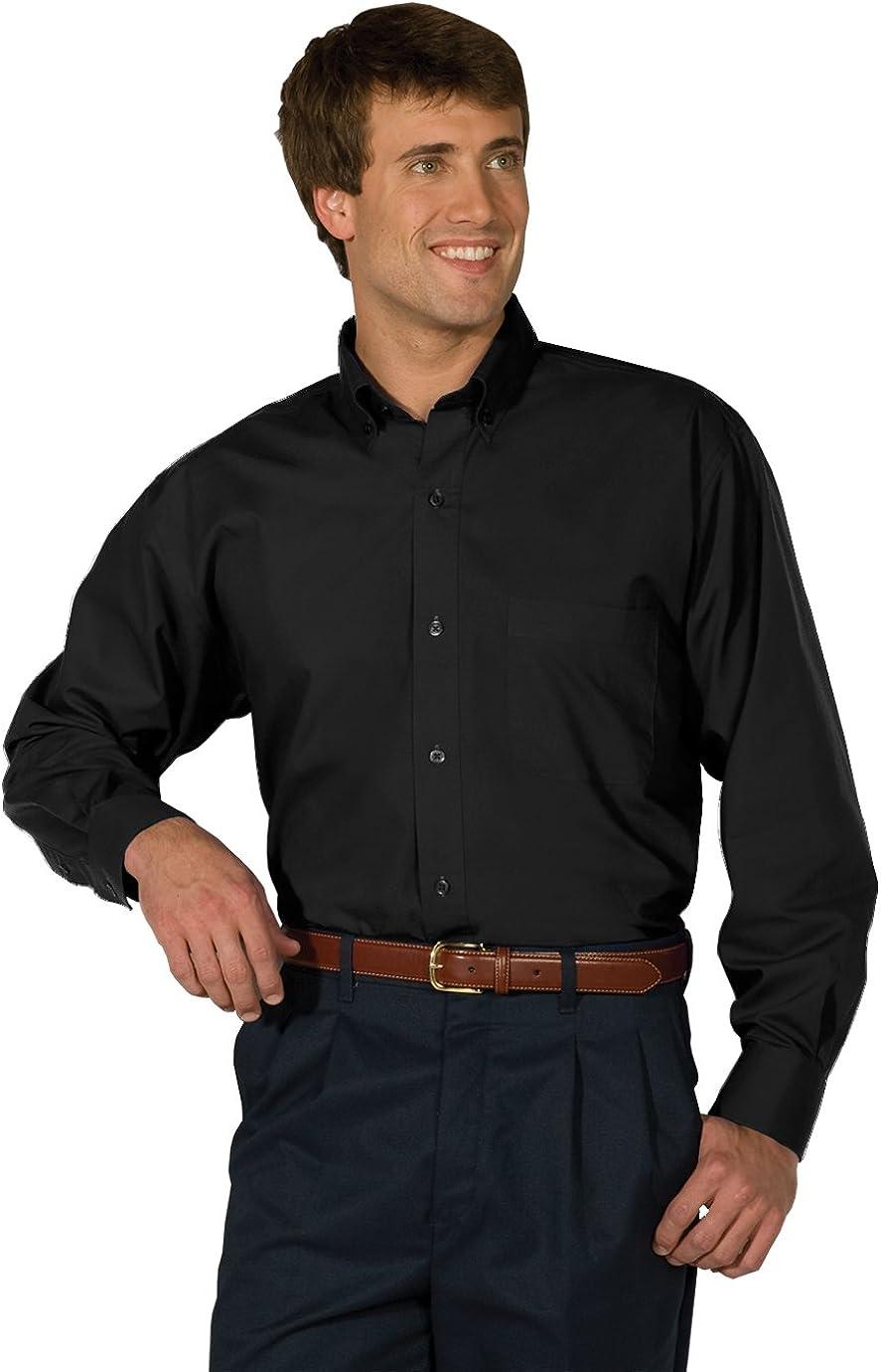 Edwards Garment Men's Big And Tall Easy Care Poplin Long Sleeve Shirt_BLACK_5XLT